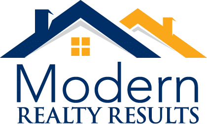 logo for Modern Realty Results with blue and gold roofs